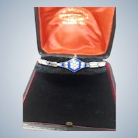 Transitional 1920's Art Deco Signed Silver, Enamel and Paste Expander Bracelet