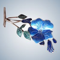 Finely Enamelled Vintage Sterling Silver Flower Brooch
