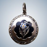 Memorial Antique Georgian 15ct Gold Enamel Locket