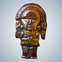 Vintage Mid C20th Copper Peruvian Inca Warrior Pin