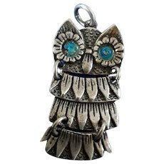 Cute Vintage 60's Sterling Silver Articulated Owl Pendant