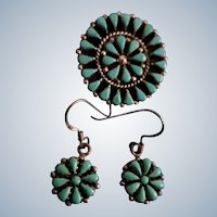 Set of Zuni Petit Point Silver and Turquoise Pendant / Brooch and Earrings