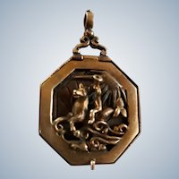 Extremely Rare 18th Century Brass Novelty Pocket Sundial Pendant