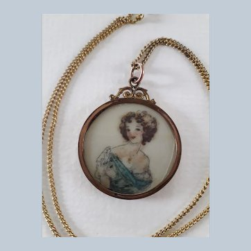 Erotica Antique Edwardian Miniature Portrait Locket