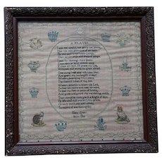 Sampler. Needlework sampler 1812.