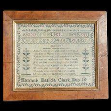 Sampler...Needlework sampler 1800's...Antique sampler....