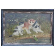 Painting of kittens...Cat painting...Antique painting of kittens...
