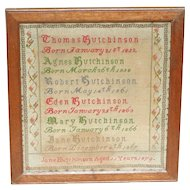 Sampler...Birth sampler...Needlework sampler 1879...