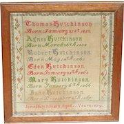 Sampler...Birth sampler...Needlework sampler 1879...