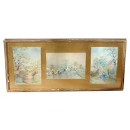 Scenic watercolor painting...Three scenes, watercolor painting