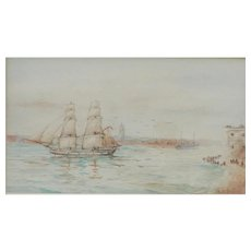 Sailing ship watercolor...Painting of a boat....