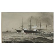 American Civil War ships painting...Painting of ships...