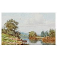 Fishing boat painting...Scenic rural scene...Painting...