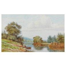 Fishing boat painting...Scenic rural scene...Painting...