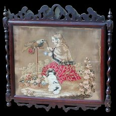 Tapestry...Victorian tapestry...Needlework Tapestry of girl, parrot & dog... - Red Tag Sale Item