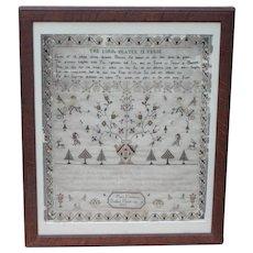 Sampler...Needlework sampler dated 1805...The Lords Prayer Sampler...