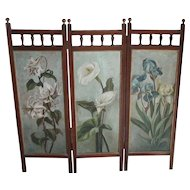 Screen...Hand painted folding screen...Vintage screen...