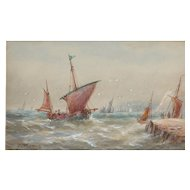 Boats...Painting of boats....Choppy seas painting of boats...