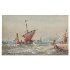 Boats...Painting of boats....Choppy seas painting of boats...