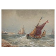 Boats...Painting of boats...Painting of boats on choppy seas...