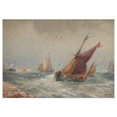 Boats...Painting of boats...Painting of boats on choppy seas...