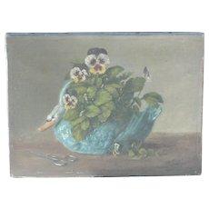 Pansies, swan painting...Painting of pansies & swan...
