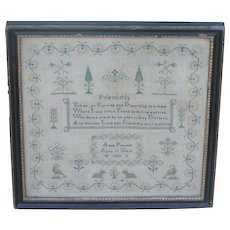 Sampler...Needlework sampler dated 1852...