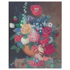 Painting of flowers...Vase of flowers oil painting...