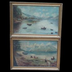 Two paintings...Boats painting...Paddle steamer...