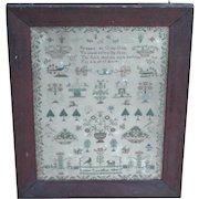 Sampler...Needlework sampler...Early 19th. Century sampler...