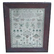 Sampler...Needlework sampler...Early 19th. Century sampler...
