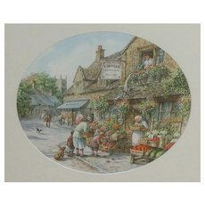Painting. Watercolor painting. Village scene watercolor painting...