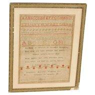 Sampler...Needlework sampler...1816 sampler...