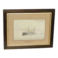 H.M.S. Vindictive. Ship painting. Naval ship. Cruiser. Painting of a ship.