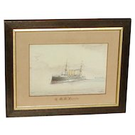 H.M.S. Vindictive. Ship painting. Naval ship. Cruiser. Painting of a ship.