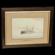 H.M.S. Vindictive...Ship painting...Naval ship...Cruiser...Painting of a ship...