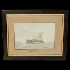 H.M.S. Diadem...Ship painting...Naval ship...Cruiser...Painting of a ship...