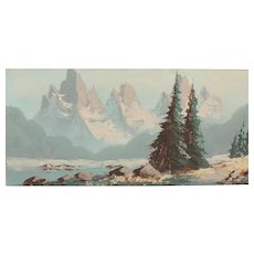 Alpine painting...Oil painting of mountains...