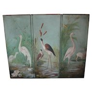 Screen...Folding screen...Oil painting of birds...