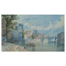 Painting.  Watercolor. Painting of boats. Scenic watercolor painting. 19th. Century painting.
