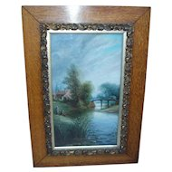 Painting. Scenic oil painting. Fishing scene. Vintage painting.