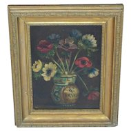 Painting. Oil painting. Flowers. Anemone. Vintage oil painting of anemone's.
