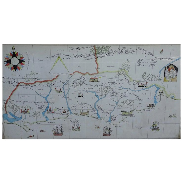 Map Sussex Map Watercolor Map Of Sussex England Painted Map