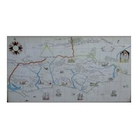Map. Sussex map. Watercolor map of Sussex England. Painted map.