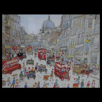 Painting. Fleet Street London. Diane Elson. Watercolor painting.