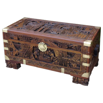 Camphor wood chest. Carved camphor chest. Vintage camphor chest. Camphor trunk.
