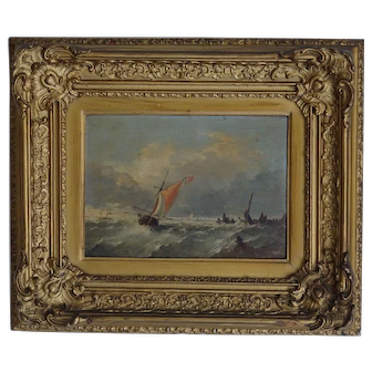 Marine painting. Painting of ships. Vintage oil painting.