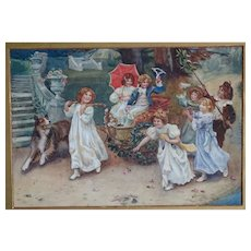 Painting. watercolor painting. Vintage painting of children with a dog.