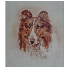 Collie dog painting. Painting of a dog. Dog painting.