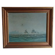 Frigates. Painting of Frigates. Naval ships. Painting of ships.